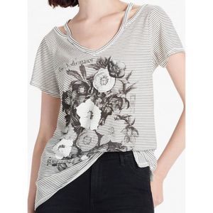 Lucky Brand gray striped Flower Tee shirt top 7642